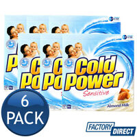 6 x COLD POWER LAUNDRY POWDER FRONT TOP LOADER SENSITIVE ALMOND MILK CLEAN 2kg