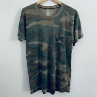 Vtg Paper Thin Camo Pocket T Shirt Distressed Faded Grunge Burnout Trashed Tee