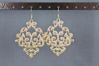 """gold dangle earrings cut out filigree scroll oval teardrop 2.75"""" long leaf foil"""