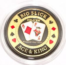 Big Slick Ace & King Hold'em Poker Coin Chip Card Guard Protector Cover New
