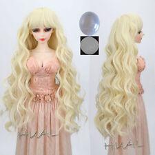 "8-9-10"" 1/3 BJD Blonde Curly Wave Long Wig LUTS Doll SD DZ Dollfie Hair Pullip #"