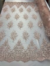 PINK Lace Fabric By The Yard Embroidery Sequins With Soft Mesh Bridal Veil Lace