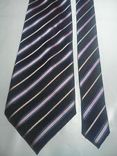 Gianni Milan Men's Vintage Silk Tie in Black with a Pink White and Blue Stripe