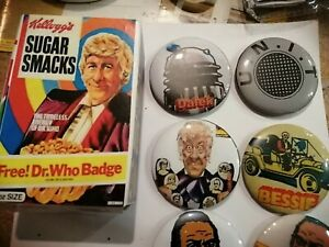 Doctor who Sugar Smacks Badges And Mock Up Box.6 badges. Not original size. 58mm