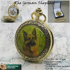 14K GOLD GERMAN SHEPHERD Enamel Cover Antique Pocket Watch Gift Chain Box C53