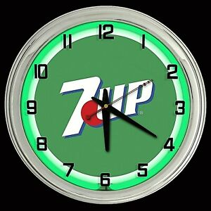 "16"" 7UP Green Sign Green Neon Clock Man Cave Garage Bar 7 UP"