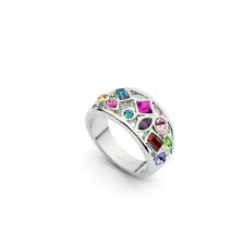 8ct 18K White Gold GF Multi-Gemstone Amethyst Emerald Ruby Citrine Ring SZ 8