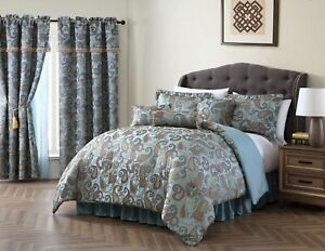 Elegant Jacquard Teal Floral Paisley 7 pcs Cal King Queen Comforter Set