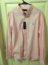 RALPH LAUREN LOGO PONY MENS PINK/WHITE CHECK SHIRT L/S CLASSIC FIT LARGE $89 NWT