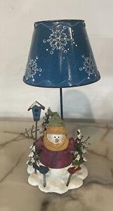"9.5"" Resin Snowman Tea Light Candle holder Metal Lamp Shade"