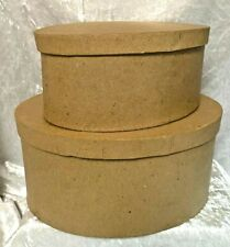 Set 2 Brown Oval Shaped Nesting Boxes To Decorate