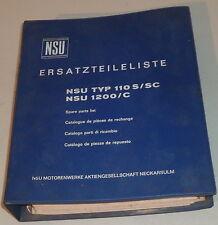 Teilekatalog Ersatzteilkatalog NSU Typ 110S / SC NSU 1200 / C Stand 09/1968