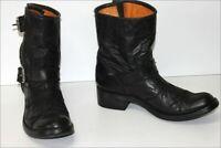 MEXICANA  Bottines Boots Cuir Fripé  Noir Doublées Cuir T 40 TBE