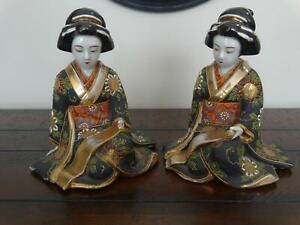 Pair of Antique Japanese Porcelain Figures of Geisha Girls Moriage and Fine Gilt