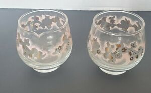 Clear Glass Sugar & Creamer Set with Gold & Peach Frosted Flower Anchor Hocking