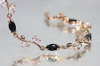 Created Black Sapphire & Diamond Leaf Shape Bracelet 6.29 -7.49inches