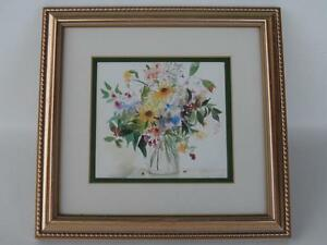 FRAMED WILD WOOD POSY FLORAL LITHOGRAPH PRINT CELIA RUSSELL MADE IN ENGLAND ART
