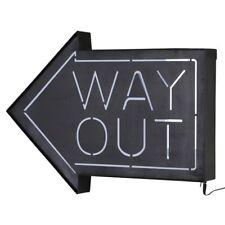 Way Out Arrow Light Up Box UK Mains Plug 240v Black Metal Sign Retro Studio