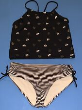 Old Navy Girls Tankini 2pc Bathing Suit Size Large Black White Gold Bumble Bees