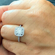 Engagement Ring In 14K White Gold Finish New listing 2.40 Tcw Cushion Forever Def Moissanite