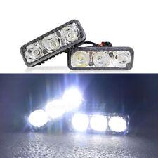 12V Universal 3 Led White High Power Car Drl Daytime Running Light Fog Lamp 2X