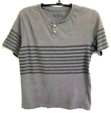 Open Trails Boys Black & Grey Striped Polo T Shirt Size Large