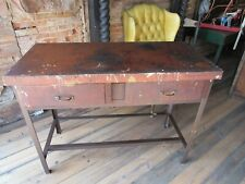 Vintage Antique Wood Metal Workbench, Kitchen island, Desk, Table w/ 2-Drawers