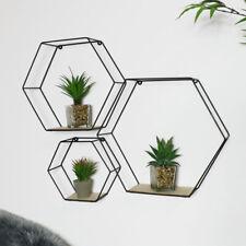 Schwarz Metalldraht Hexagon Wand Regale Retro Industrie Geometrisch Display Deko