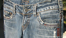 SILVER JEANS WOMEN'S Sz26 DISTRESSED RELAXED FLARE LOW RISE BLUE JEAN PANTS.