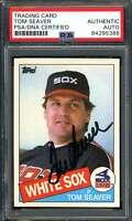 Tom Seaver Signed PSA DNA Coa 1985 Topps Autograph