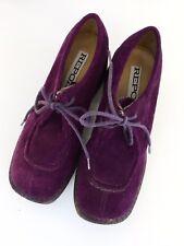 Vintage 1990s Report Chunky Shoes Purple Suede Rubber Platform Sole 6.5 Lace Up