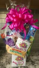 Mother's Day Candy / Snack Gift Basket / Gift Box Wrapped With Fuchsia Bow