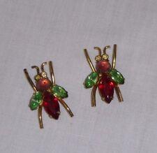 Pr Vtg Cute Bug Fly Rhinestone Earrings ***BROKEN***  for Repurposing