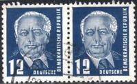 DDR W. Pieck 2, waagerechtes Paar MiNr. 323 va XI gestempelt geprüft Mi€ 9+