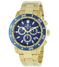 Invicta 1205 Men's Gold Tone SS Blue Dial Chronograph Watch