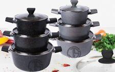 Non Stick Induction Deep Casserole Saucepans Set Stock Pot with Lid Marble Coat