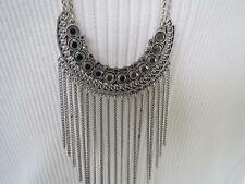 Lucky Brand silver tone double strand~smokey crystal fringe necklace, NWT