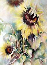 """Orig. Water Color Painting """"SUNFLOWERS"""" Artist Signed 22""""x 30"""" Double Matted"""