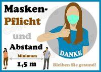 Aufkleber Schutzmaskenpflicht & 1,5 m Abstand halten (Corona-Sicherheitshinweise