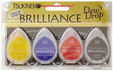 Tsukineko BRILLIANCE Dew Drop   BASICS  4 Ink Pads RED BLUE BLACK YELLOW