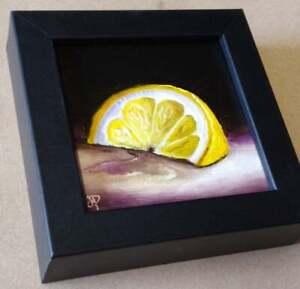 Little Lemon slice Original still life  Oil Painting, by Jane Palmer Art Framed