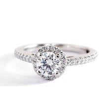 0.60 Ct VVS2 H Round Cut Classic Diamond Halo Engagement Ring 9K-White Gold