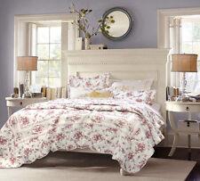 Shabby Chic Vintage Cottage Pink, Rose Floral 3 Pcs Cotton Quilt Set/Full-Queen