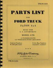 TM10-1434 ~ Parts List ~ 1.5 Ton Ford ~  GTB ~ Burma Jeep Manual~ 1942 ~ Reprnt
