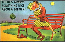 Risque Military Humor - Kissing on Bench P484