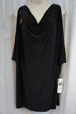 "Nine West Dress Sz 8 Solid Black ""A New Spin"" Beaded Shoulder Cocktail Party"