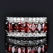 luxury Single Row Red Ruby & CZ Wedding Ring Engagement Jewelry Gifts Size 6-12