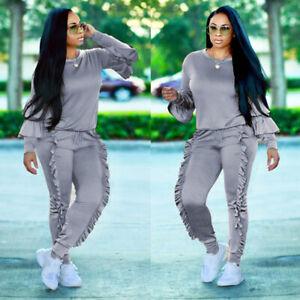 2PCS Womens Ruffles Hoodies Tracksuit Sweatshirt Tops Pants Sports Wear Jogging