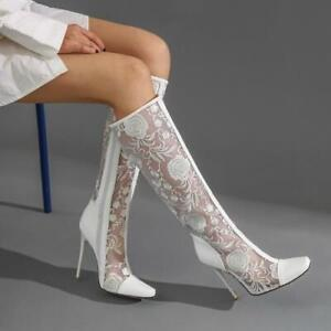 Fashion Women's Hollow out Pointy Toe Stilettos HIgh Heels Knee High Boots Shoes