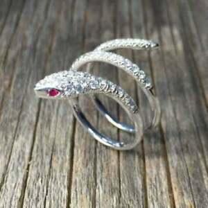 10k White Gold Finish 2.18 Ct Round Cut Diamond Snake Shape Engagement Ring